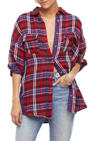 Free People One Of The Guys Plaid Shirt, Red
