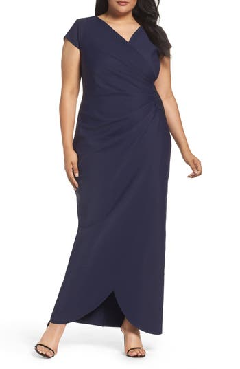 Plus Size Alex Evenings Embellished Side Pleat Column Gown, Blue