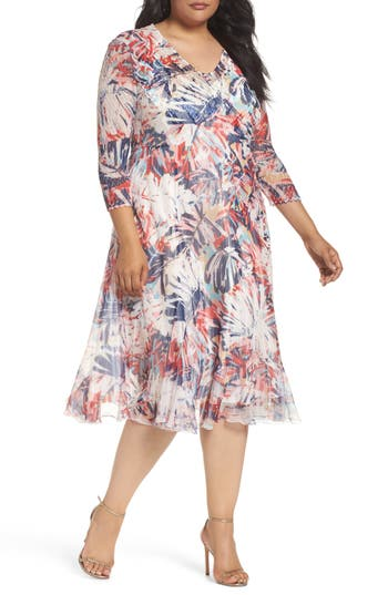 Plus Size Komarov Print Chiffon A-Line Dress, Red