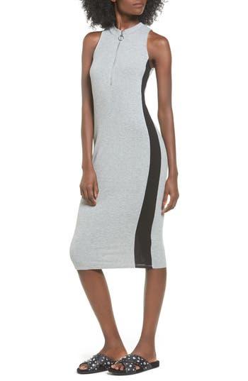 Love, Fire Side Stripe Rib Knit Dress, Grey