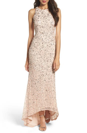 Adrianna Papell Sequin High/low Gown, Pink