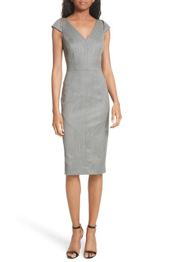 Milly Larissa Italian Gabardine Sheath Dress, Grey
