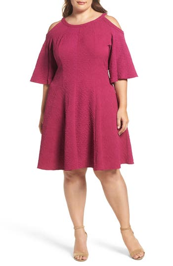 Plus Size Gabby Skye Cold Shoulder Jacquard Fit & Flare Dress, Pink