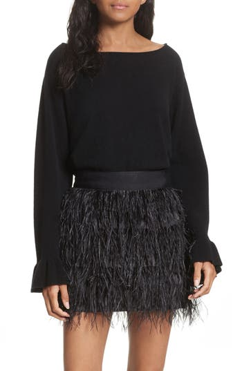 Women's Milly Flare Sleeve Cashmere Sweater, Size Petite - Black