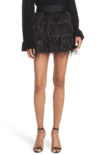 Women's Milly Feather Miniskirt, Size 0 - Black