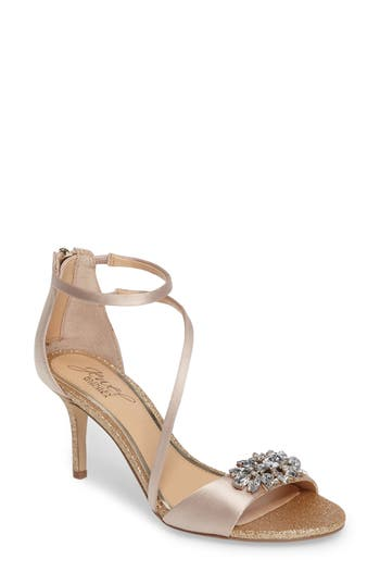 Jewel Badgley Mischka Leighton Embellished Strappy Sandal- Metallic