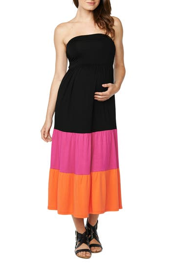 Maternal America Convertible Strapless Maternity Dress, Black