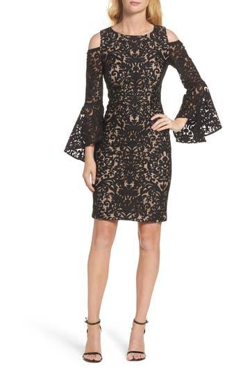 Xscape Flocked Cold Shoulder Sheath Dress, Black
