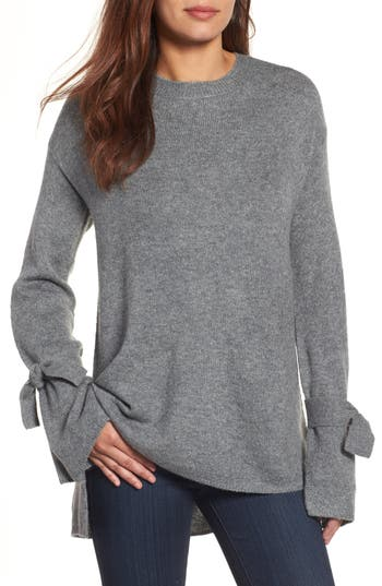 Halogen Tie Bell Sleeve Sweater, Grey
