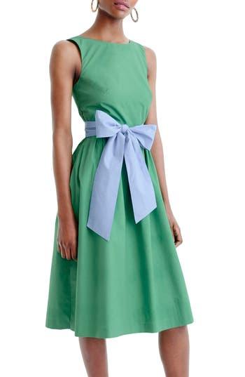 Women's J.crew Sash Tie A-Line Dress, Size 6 - Green