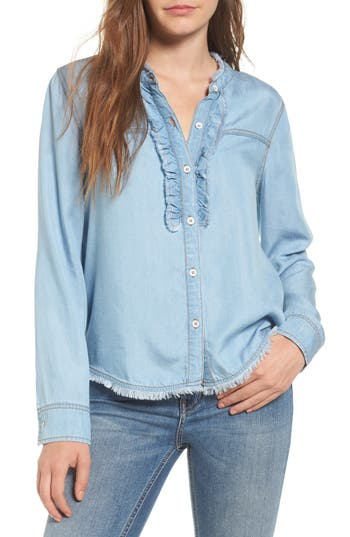 Splendid Ruffle Chambray Shirt, Blue