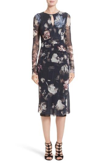 Women's Fuzzi Floral Print Tulle Keyhole Dress