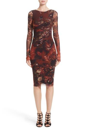 Fuzzi Hummingbird Print Ruched Tulle Dress, Red
