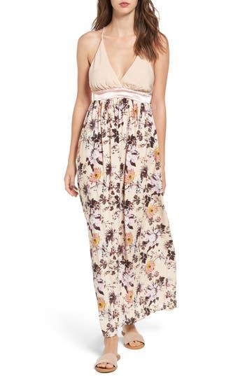 Love, Fire Floral Print Maxi Dress, Pink