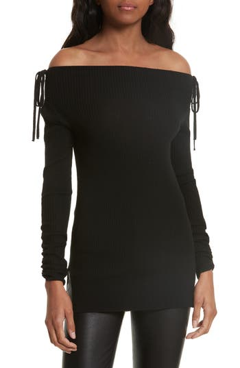 Veronica Beard Merino Wool Off The Shoulder Sweater, Black
