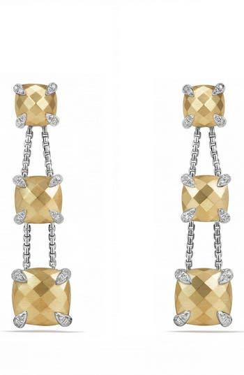 Women's David Yurman Châtelaine Drop Earrings With Diamonds & 18K Gold