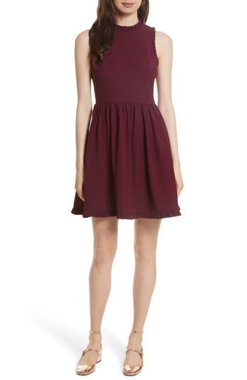 Kate Spade New York Ruffle Trim Fit & Flare Dress, Burgundy