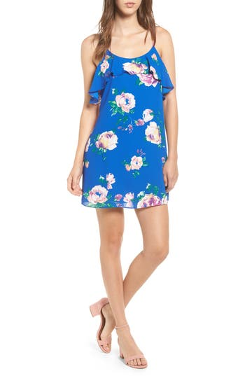 Everly Floral Print Ruffle Front Dress, Blue