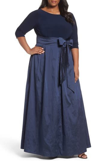 Plus Size Adrianna Papell Mixed Media Gown