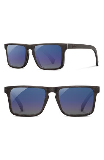 Shwood Govy 2 5m Polarized Wood Sunglasses - Dark Walnut/ Blue