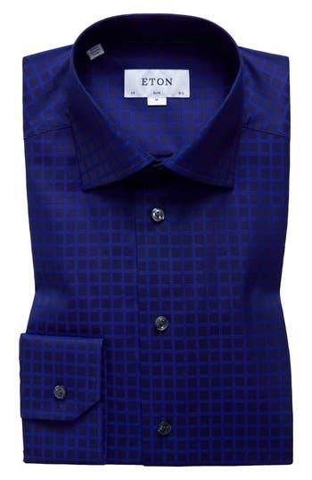 Men's Eton Slim Fit Check Dress Shirt, Size 15.5 - Blue
