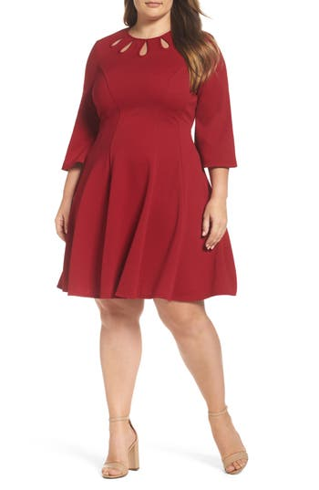 Plus Size Gabby Skye Keyhole Neck Ottoman Fit & Flare Dress, Red