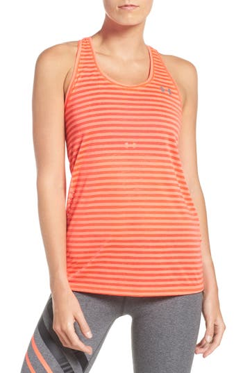 Women's Under Armour Threadborne Stripe Tank, Size X-Small - Red