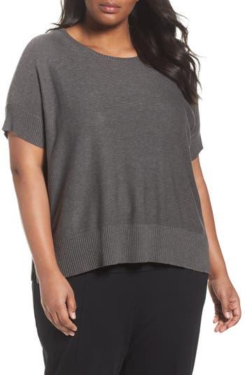 Plus Size Eileen Fisher Tencel & Merino Wool Top, Grey