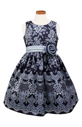 Girls Sorbet Floral Print Shantung Dress