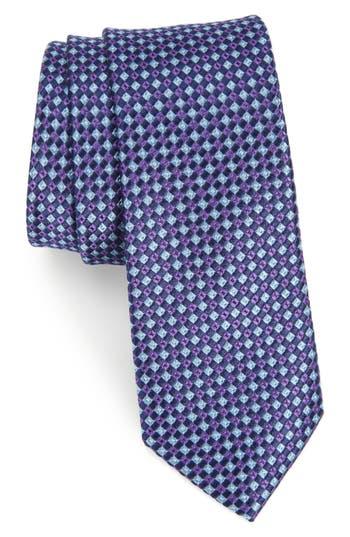 Men's Nordstrom Men's Shop Tino Geometric Silk Skinny Tie, Size Regular - Purple