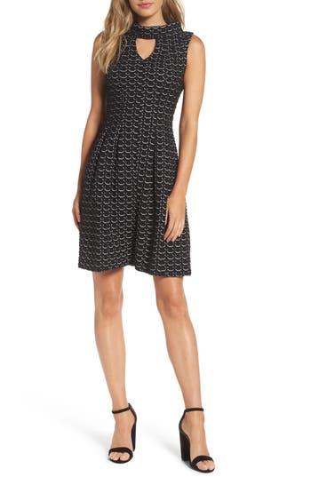 Taylor Dresses Textured Knit Fit & Flare Dress, Black