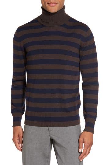 Men's Eleventy Striped Turtleneck Sweater, Size Medium - Brown