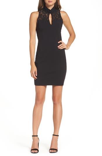 Bb Dakota Cambree Lace & Ponte Dress, Black