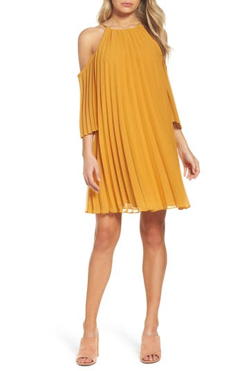 Bb Dakota Gretal Cold Shoulder Pleated Dress, Yellow