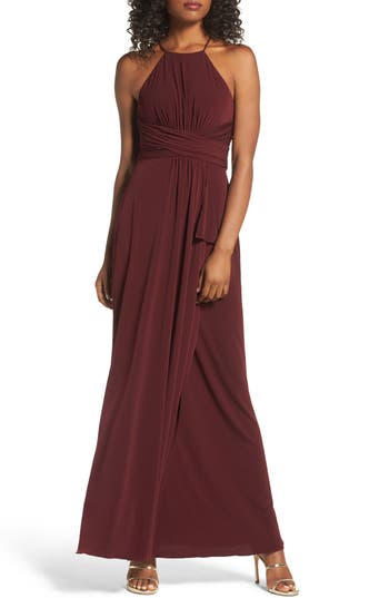 Amsale Jones Ruched Halter Gown, Red