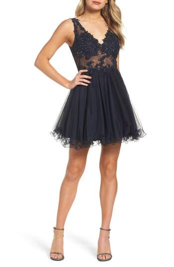 Blondie Nites Embellished Mesh Fit & Flare Dress, Blue