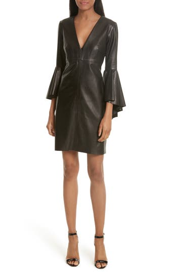 Milly Bell Sleeve Leather Dress, Size Petite - Black