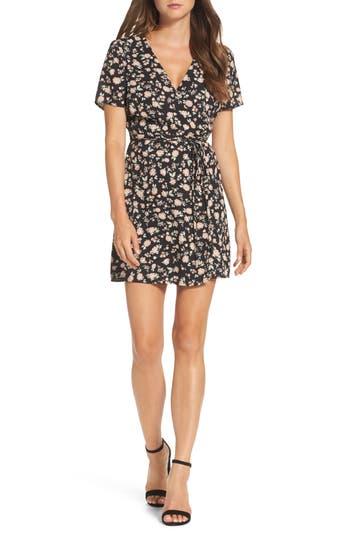 Bardot Floral Wrap Dress, Black