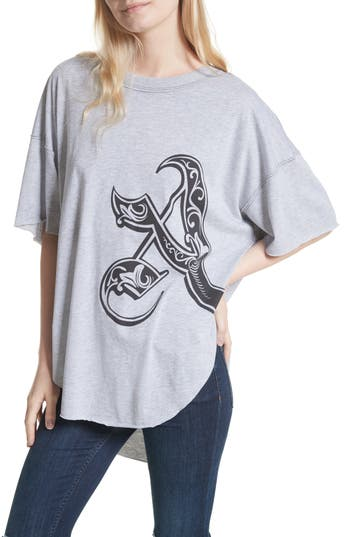 Free People Letter Graphic Tee, Grey
