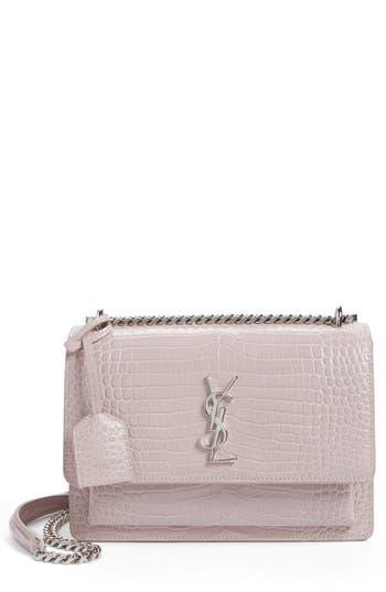 Saint Laurent 'Medium Monogram Sunset' Croc Embossed Leather Shoulder Bag -