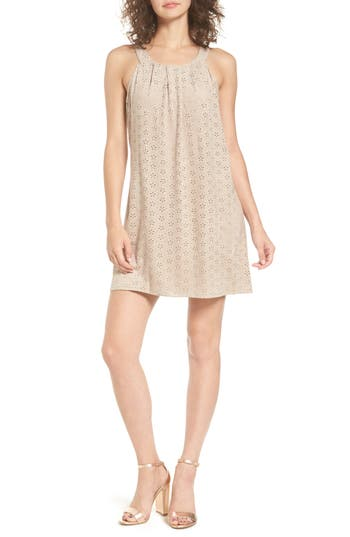 As You Wish Perforated Faux Suede Shift Dress, Beige