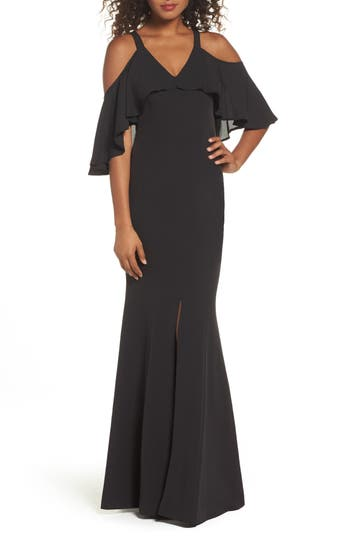 Jay By Jay Godfrey Naomi Cold Shoulder Gown, Black