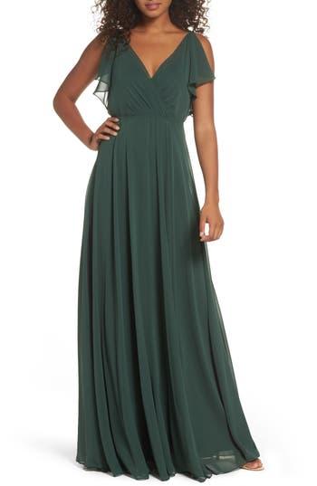 Women's Jenny Yoo Cassie Flutter Sleeve Chiffon A-Line Gown, Size 0 - Green