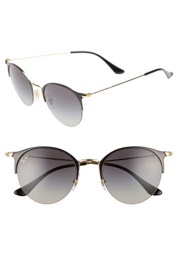 Ray-Ban 50Mm Round Sunglasses - Gold Black/ Light Grey