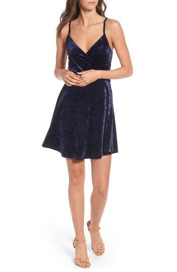 Love, Fire Velvet Surplice Dress, Blue