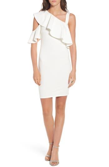 Soprano Ruffle One-Shoulder Body-Con Dress, White