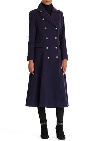 Women's Lauren Ralph Lauren Double Breasted Military Maxi Coat, Size 0 - Blue