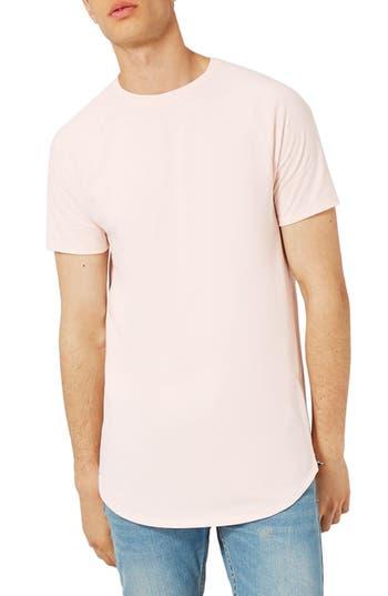 Topman Longline T-Shirt With Side Zips, Pink