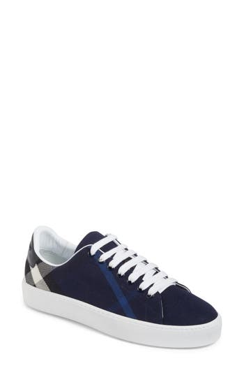Burberry Check Canvas Lace-Up Sneaker, Blue