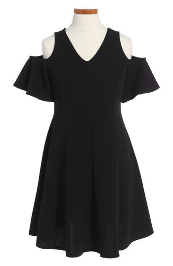Girl's Soprano Cold Shoulder Skater Dress, Size S (8-10) - Black